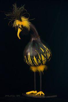 "*Gourd Art - ""Bozz"" by Cheryl Ehlers"