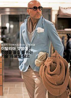 Gabriele pasini -LEON KOREA Older Mens Fashion, Old Man Fashion, Sharp Dressed Man, Well Dressed Men, Stylish Men, Men Casual, Bald Men Style, Gentleman Style, Mens Suits