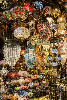 Colorful handmade lamps ~~ by Maja Topcagic (lamp shop in The Grand Bazaar, Istanbul - Turkey)<br> Moroccan Lighting, Moroccan Lanterns, Moroccan Decor, Moroccan Colors, Moroccan Style, Meubles Peints Style Funky, Grand Bazaar Istanbul, Turkish Lamps, Turkish Lights