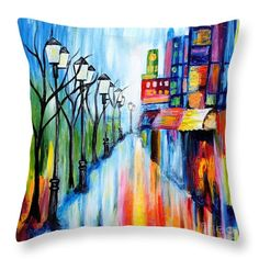 "City Lights Throw Pillow by Art by Danielle.  Our throw pillows are made from 100% spun polyester poplin fabric and add a stylish statement to any room.  Pillows are available in sizes from 14"" x 14"" up to 26"" x 26"".  Each pillow is printed on both sides (same image) and includes a concealed zipper and removable insert (if selected) for easy cleaning."