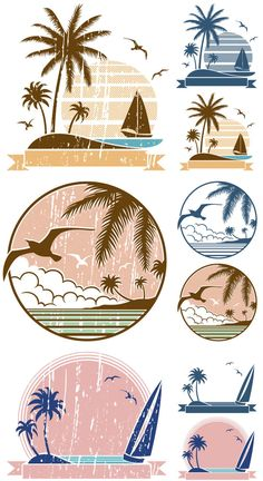 16 Ideas For Travel Logo Design Inspiration Illustrations Travel Agency Logo, Travel Logo, Vector Art, Vector Illustrations, Vector Stock, Logo Voyage, Beach Logo, Tree Graphic, Mandala Art