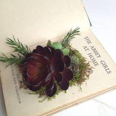 Artificial Succulents In Vintage Book Planter