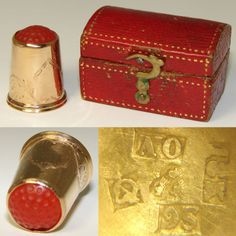 RARE-Antique-18k-Gold-Carved-Carnelian-Sewing-Thimble-Orig-Box-or-Etui