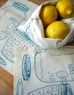 Produce bags. So reusable so sweet.  http://www.etsy.com/listing/73126224/set-of-3-screen-printed-reusable-organic