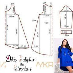 """1,849 Me gusta, 40 comentarios - Dikiş Kalıpları ve Patronları (@dikiskalipvepatronlari) en Instagram: """"#tunik #elbise kalıbı 36/38 beden Desteklemek için lütfen yorum yapınız & begen butonuna basınız. ❤…"""""""