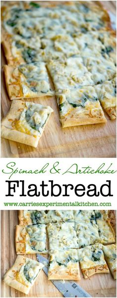 This Spinach & Artichoke Flatbread made with baby spinach, artichoke hearts…