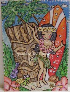 SALE ACEO Art Original Joy Hawaii Hula Girl Summer Surfboard Turtle Flowers Tiki #Miniature