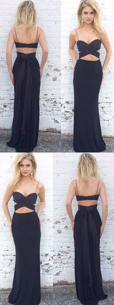 Spaghetti Straps Black Two Piece Mermaid Long Prom