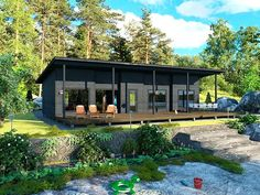 love the overhang over front deck New House Plans, Small House Plans, Cottage Design, Tiny House Design, Off Grid House, Tiny House Loft, Casas Containers, Contemporary House Plans, Prefab Homes