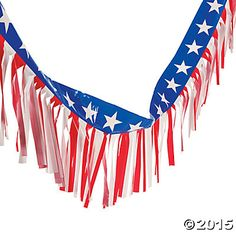 Fun Express - Patriotic Plastic Fringe Garland for Fourth of July - Party Decor - Hanging Decor - Misc Hanging Decor - Fourth of July - 1 Piece, Patriotic Bunting, Patriotic Party, 4th Of July Parade, Fourth Of July, Parade Float Supplies, Outdoor Flags, Outdoor Decor, Welcome Home Parties, 4th Of July Decorations