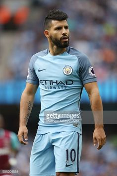 Sergio Aguero of Manchester City during the Premier League match between Manchester City and West Ham United at Etihad Stadium on August 27 2016 in...