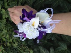 Purple And White Real Touch Calla Lily Silk Wrist by mtfloral, $25.00
