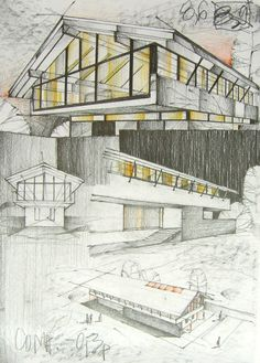 RaduTeaca by TheDreamEater on deviantART Sketch Revit Architecture, Architecture Sketchbook, Architect Drawing, Building Sketch, Architecture Background, Abstract City, Famous Buildings, House Painting, Digital Art