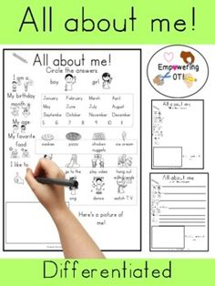 This is a 1 page ALL ABOUT ME paper that is perfect for back to school! It is differentiated into a circle the answer sheet, 3 lined paper (two sizes) and lined paper. This includes basic information such as birthday/birthday month, name, gender, favorite food, and favorite activities. This also includes a 1 page word bank! Check out the preview before you purchase. Page Back, Pediatric Occupational Therapy, Bank Check, Thing 1, Sensory Processing Disorder, Learning Disabilities, Birthday Month, Differentiation, My Teacher