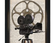 Vintage Movie Camera dictionary art print. Great home theatre decor.Old movie camera & reel on vintage dictionary book page-8x10 inch