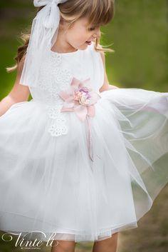 Φόρεμα βάπτισης Vinte Li 2916 μαζί με κορδέλα για τα μαλλιά, annassecret