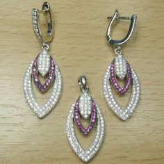 Micro Setting Pink and White CZ 925 Sterling Silver Marquise Shape Jewelry Set