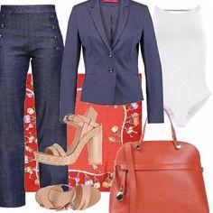 Ideale per il lavoro, l'università, una passeggiata. Il jeans dritto esalta la figura specialmente se portato con delle scarpe alte. Il foulard va portato legato al collo sotto la giacca.