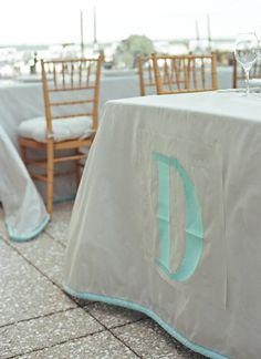Monogram Linens   Charleston Wedding by Tara Guerard and Liz Banfield, Southern Weddings Magazine