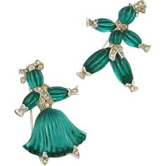 TRIFARI 1949 Pom Pom & Tom Tom Girl and Boy Rag Doll Pin Set - Emerald Green Poured Pressed Glass Rhodium Plated Designed by Alfred Philippe