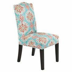 """Pairing sophisticated style with bohemian appeal, this eye-catching side chair showcases a Parsons-inspired silhouette and bold medallion-print upholstery.    Product: ChairConstruction Material: Wood and fabricColor: Capri and espressoFeatures:  Nailhead trimMade in the USADimensions: 40.5"""" H x 19.5"""" W x 21"""" D"""