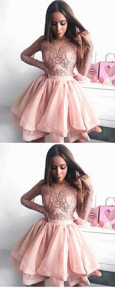 A-Line Bateau Long Sleeves Pink Tulle Homecoming Dress with Appliques, Shop plus-sized prom dresses for curvy figures and plus-size party dresses. Ball gowns for prom in plus sizes and short plus-sized prom dresses for Long Sleeve Homecoming Dresses, Dresses Short, Hoco Dresses, Dresses For Teens, Simple Dresses, Party Dresses, Dresses With Sleeves, Formal Dresses, Pink Dresses