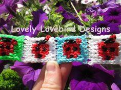 Alpha Loom Ladybug Mural Panel Bracelet. Rainbow Loom New Tutorial. - YouTube
