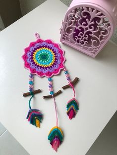 This item is unavailable Crochet Feather, Crochet Dreamcatcher, Love Crochet, Crochet Motif, Crochet Patterns, Crochet Crafts, Yarn Crafts, Crochet Toys, Crochet Projects