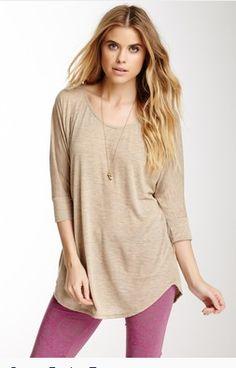 Alternative apparel dress three-quarter scoop-neck maxi