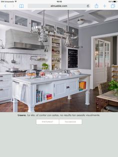 Kitchen with island and white subway tiles gray and type Rustic Kitchen Design, Home Decor Kitchen, Home Decor Bedroom, Kitchen Interior, New Kitchen, Kitchen Dining, Vintage Kitchen, Living Room On A Budget, Home Living
