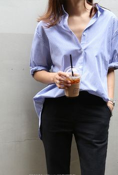 Death by Elocution- Simple but still stylish- Striped shirt- black trousers
