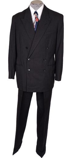 1940s Mens Black Wool Pinstripe Suit Vintage Hand Tailored Jacket with