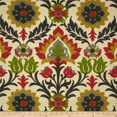 SHIPS SAME DAY Waverly Santa Maria Jewel Indoor / Outdoor Fabric - Sun N Shade Floral Damask Home Decor Outdoor Fabric - by the 1/2 Yard