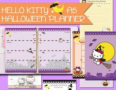 Halloween Planner kit Hello Kitty A5 size  This planner includes all you need to help keep your preparations for Halloween organized and fun.  Size: cm 14,8 x 21 cm - perfect for filofax a5, kikki k large, carpe diem, and any other a5 size planner  The listing includes 4 PDF to print on a A4 or letter size paper  - A dashboard - Monthly view on 2 pages - A weekly view on 2 pages - Halloween party planner - Recipes pages - Halloween shopping pages - Simple ruled pages for any use that you…