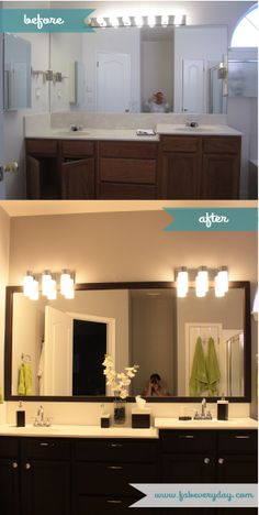 everyday life should be fabulous: DIY Master Bathroom Makeover on a Budget - From Builder-Grade to Contemporary Home Renovation, Home Remodeling, Bathroom Renovations, Rustoleum Cabinet Transformation, Diy Bathroom, Bathroom Ideas, Bathroom Cabinets, Bathroom Organization, Bathroom Designs