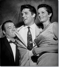 """awesomepeoplehangingouttogether: """" Elvis Presley with comic Lou Costello and actress Jane Russell """""""