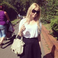 Sarah-Jane Morgan. Zara Tee, Lipsy Skirt, Mischa Barton Bag.