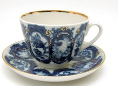 An elegant Russian teacup titled NECKLACE from Lomonosov Porcelain at the Russian Gift Shop in Lisle IL