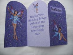 Lizzie Fairy Birthday Tri fold on Craftsuprint designed by Rhonda Brittain - made by Kathleen Francis - A very simple just print off, cut out and there you have it, I usually make a hand made envelope to compliment this little card, with this one I picked out all the light coloured stars with glitter, simple effect. great girls card - Now available for download!