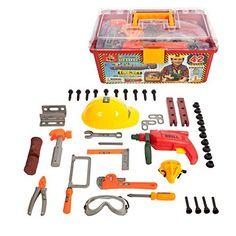 42 Piece Tool set in a Tool box with working drill & Helmet IQ Toys http://www.amazon.com/dp/B00OO70YJ2/ref=cm_sw_r_pi_dp_Pl-zwb1K5KB1Z