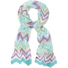 Missoni Turquoise and Purple Zig Zag Crochet Scarf