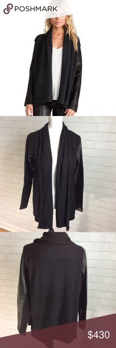 Leather Sleeve Shawl Collar Cashmere Cardigan Sz M Brand New with tags!! Trendy Black Knit cashmere cardigan Shawl collar, Genuine Lamb leather panels at sleeves Rolled asymmetrical hem Open front Tonal topstitching and panel seaming Nordstrom Sweaters Cardigans