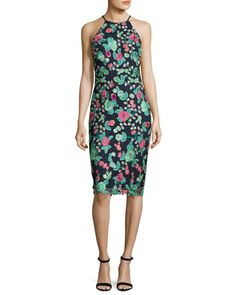 Floral+Lace+Sleeveless+Sheath+Dress,+Blue+by+Badgley+Mischka+at+Neiman+Marcus.