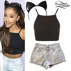 Ariana Grande met with fans at The Honeymoon Tour in Glasgow last week wearing a black Topshop Ribbed Crop Top ($14.00), her Car Mar Denim Shorts (not available online) from LF Stores, and a headband similar to this PVC Cat Ears Headband ($29.00) from Etsy.