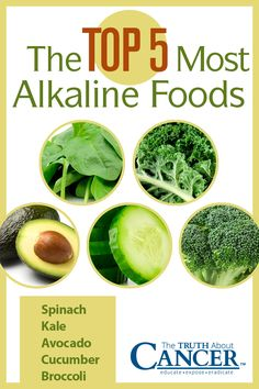 """The Top 5 Most Alkaline Foods: Spinach, Kale, Cucumber, Avocado, & Broccoli. Click on the image above to learn more about alkaline foods and how our understanding of Blood pH can help us prevent cancer. Ty Bollinger states, """"The general rule of thumb is to eat 20% acid foods and 80% alkaline foods."""" Click through as he also talks about some excellent alkaline-forming foods. Please re-pin. Together we can educate the world about healthy lifestyle!"""