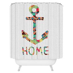 DENY Designs shower curtain with an anchor motif. Made in the USA.   Product: Shower curtainConstruction Material: 100...