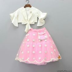 Pre Order: Off-white Top With Baby Pink Embroidered Lehenga - Kids designer dresses - Kids Party Wear Dresses, Kids Dress Wear, Baby Girl Party Dresses, Kids Gown, Dresses Kids Girl, Kids Wear, Kids Indian Wear, Kids Ethnic Wear, Kids Frocks Design