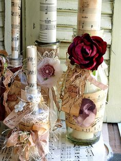Vintage Embellished Bottles by NoelleGarrettDesigns, via Flickr