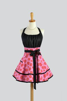 Flirty Chic Apron - Red and Pink Roses with Black Polka Dot Bodice and Two Layer Skirt Cute Flirty Sexy Retro Womens Apron