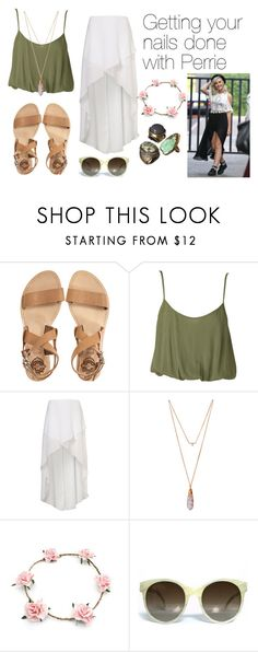 """Getting your nails done with Perrie Edwards"" by louetasdale ❤ liked on Polyvore featuring Sol Sana, Nookie, Tiffany & Co., Elora, Illesteva, littlemix, croptop, topshop, flowercrown and perrieedwards"